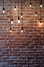 Old Red Brick Wall With Bulb L...