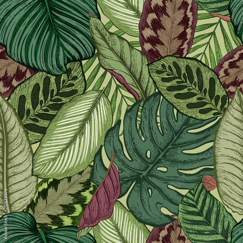 Foto op Canvas Kunstmatig Seamless pattern with tropical leaves. Vector illustration.