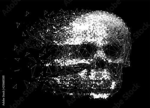 Vector skull illustration made by interlacing network of thin lines, and grungy halftone effect. Low poly line art.