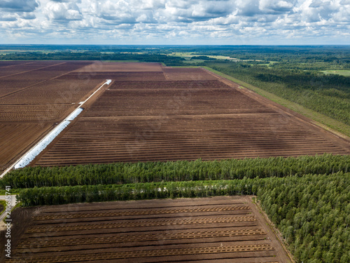 Keuken foto achterwand Diepbruine drone image. aerial view of rural area with fields of turf development