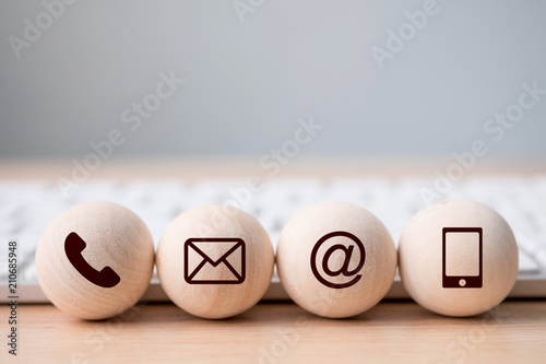 Fotomural Wood sphere symbol telephone, mail, address and mobile phone