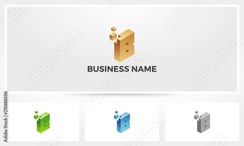 Letter B Block Stack Build Logo - Buy this stock vector and