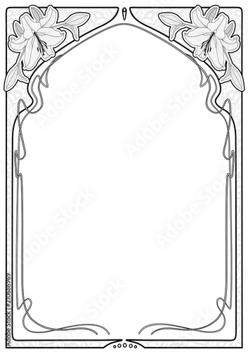 Art nouveau frames with space for text. Wall mural