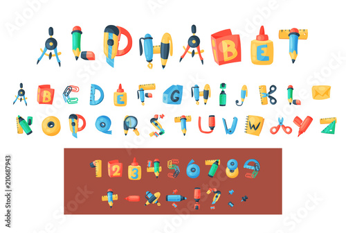 Photo Alphabet stationery letters vector abc font alphabetic icons of office supply an