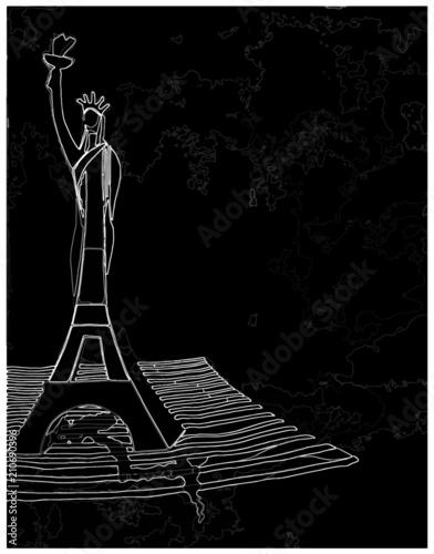 Fotografie, Obraz  Dessin en noir et blanc de la Tour Eiffel et de la Statue de La Liberté entremêl