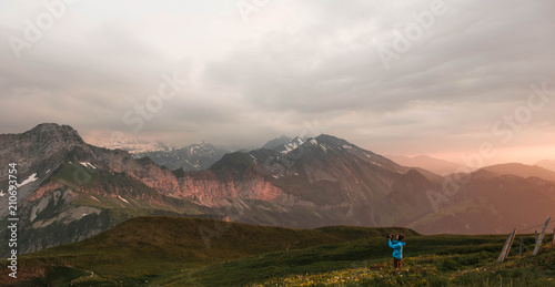 Keuken foto achterwand Marokko Berglandschaft beim Vierwaldstättersee (Niederbauen-Kulm) Sonnenuntergang