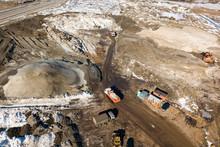 Industrial Earthworks Loader Bucket Machines On Building Constru
