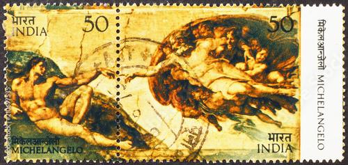Fotografía  God & Adam by Michelangelo in Sistine Chapel