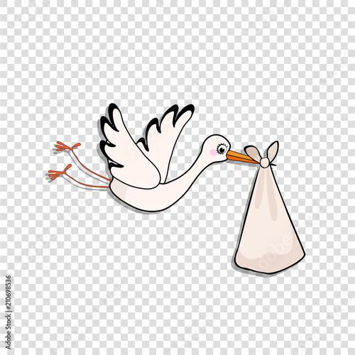 Fototapeta Cartoon stork delivering baby bundle on transparent background