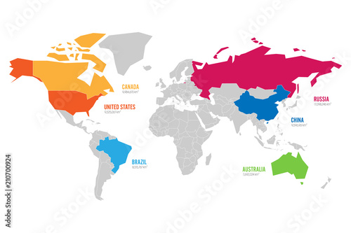 World Map Vector Illustration Infographics With Highlighted 6