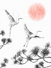 Flying Storks, Pine Branches A...