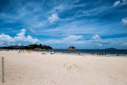 Shek O, Hong Kong  - June 25, 2018 : People enjoying sun shine at beach at sunny  afternoon