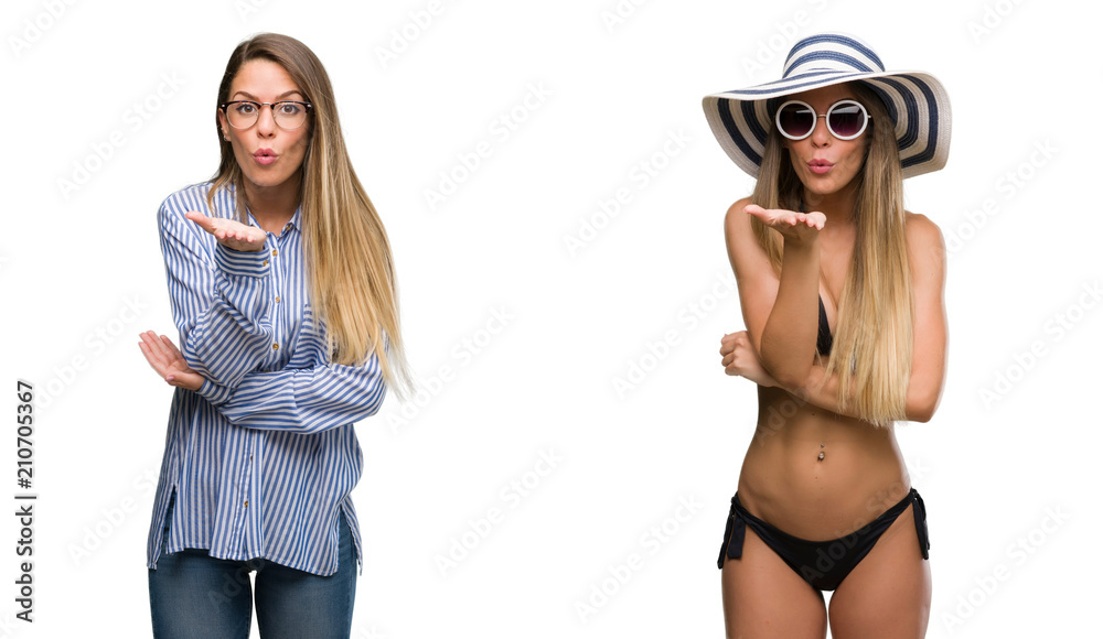 Young beautiful blonde woman wearing business and bikini outfits looking at the camera blowing a kiss with hand on air being lovely and sexy. Love expression.