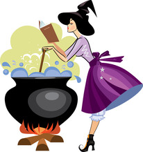 Witches Preparing A Potion, Vector Illustration Of  Witch With Book In Profile Is Cooking Something Poisonous In Her Cauldron, At Halloween Night