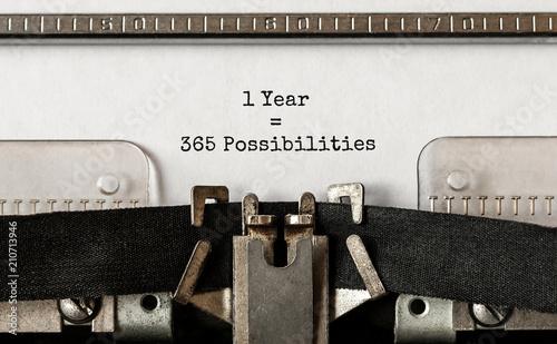 Fényképezés  Text 1 Year 365 Possibilities typed on retro typewriter