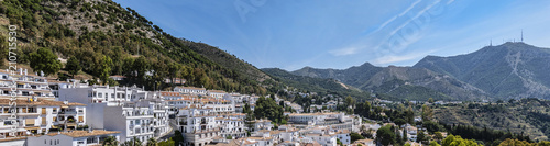 Fototapeta Beautiful aerial view of Mijas - Spanish hill town overlooking the Costa del Sol, not far from Malaga