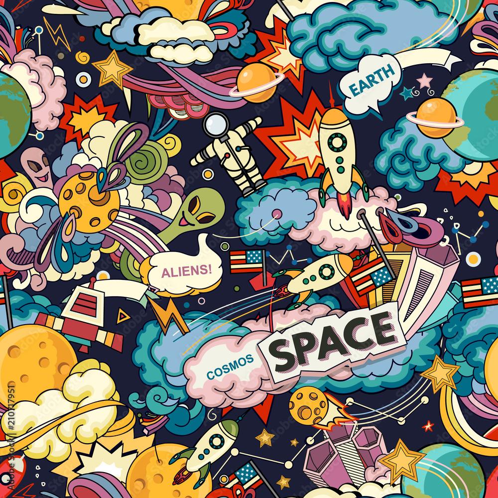 Fototapeta Cosmos vector background. Cartoon seamless background. Seamless pattern with cartoon space rockets, cosmonaut, planets, stars.