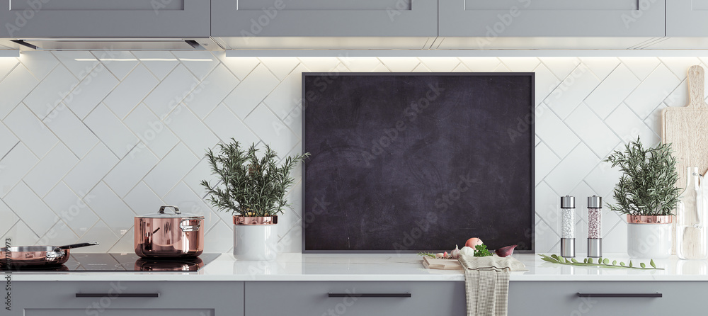 Fototapeta Mock up poster frame in kitchen interior, Scandinavian style, panoramic background, 3d render