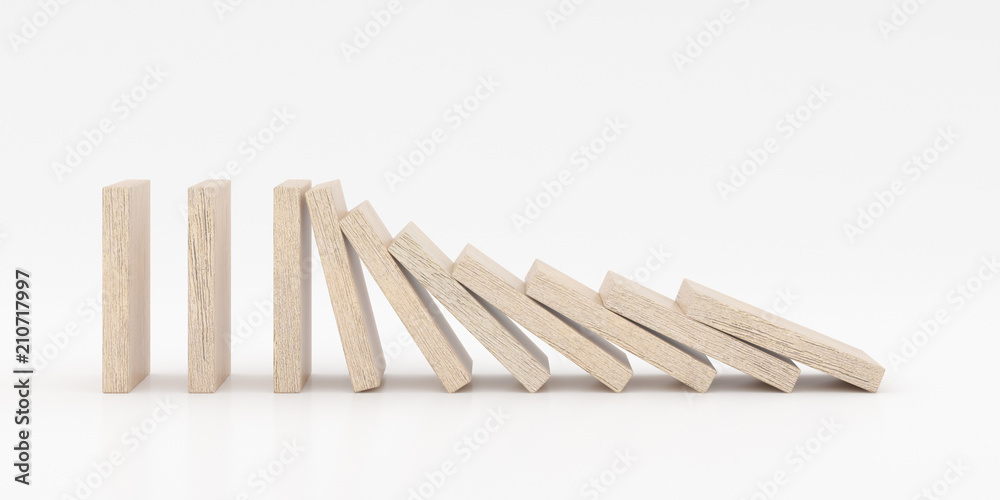 Fototapeta Closeup of wooden dominoes are falling down on white background, 3d rendering