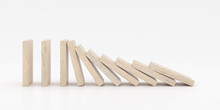 Closeup Of Wooden Dominoes Are...