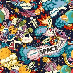 Cosmos vector background. Cartoon seamless background. Seamless pattern with cartoon space rockets, cosmonaut, planets, stars.
