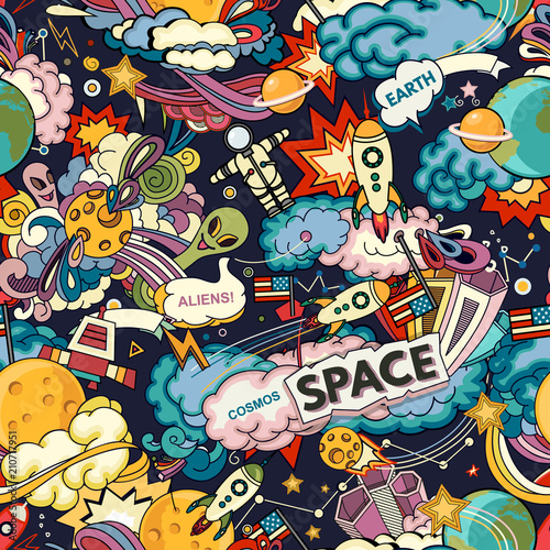 Foto-Tapete - Cosmos vector background. Cartoon seamless background. Seamless pattern with cartoon space rockets, cosmonaut, planets, stars. (von lubashka)