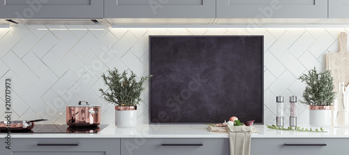 Stampa su Tela Mock up poster frame in kitchen interior, Scandinavian style, panoramic backgrou
