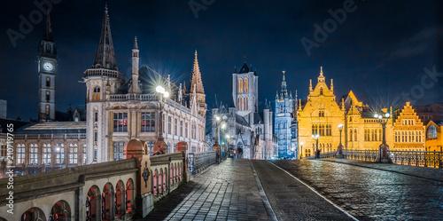 Twilight view of Ghent, Flanders, Belgium Fototapeta