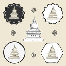 Stupa Temple Buddhism Icon Fla...