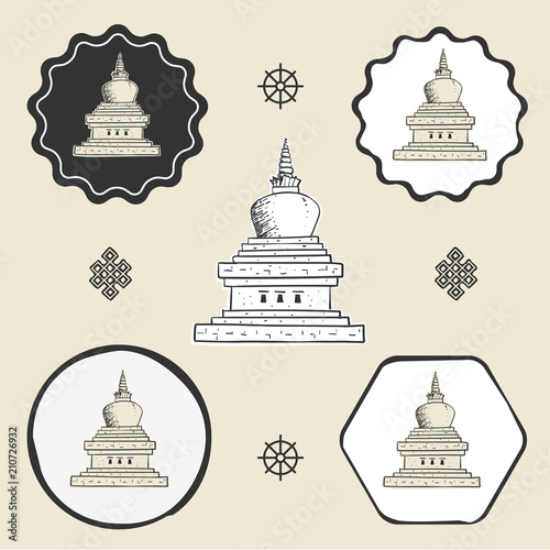 Fotografia Stupa temple buddhism icon flat web sign symbol logo label