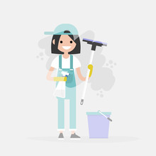 Cleaning Service. Young Character Washing A Window. Household Chores. Cleanup. Flat Editable Vector Illustration, Clip Art