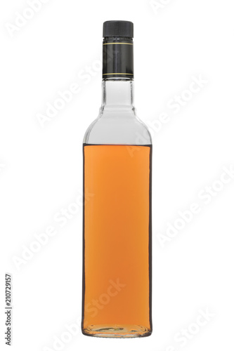 Staande foto Bar The glass bottle filled with alcoholic drink of a brown shade, with a stopper, isolated on a white background