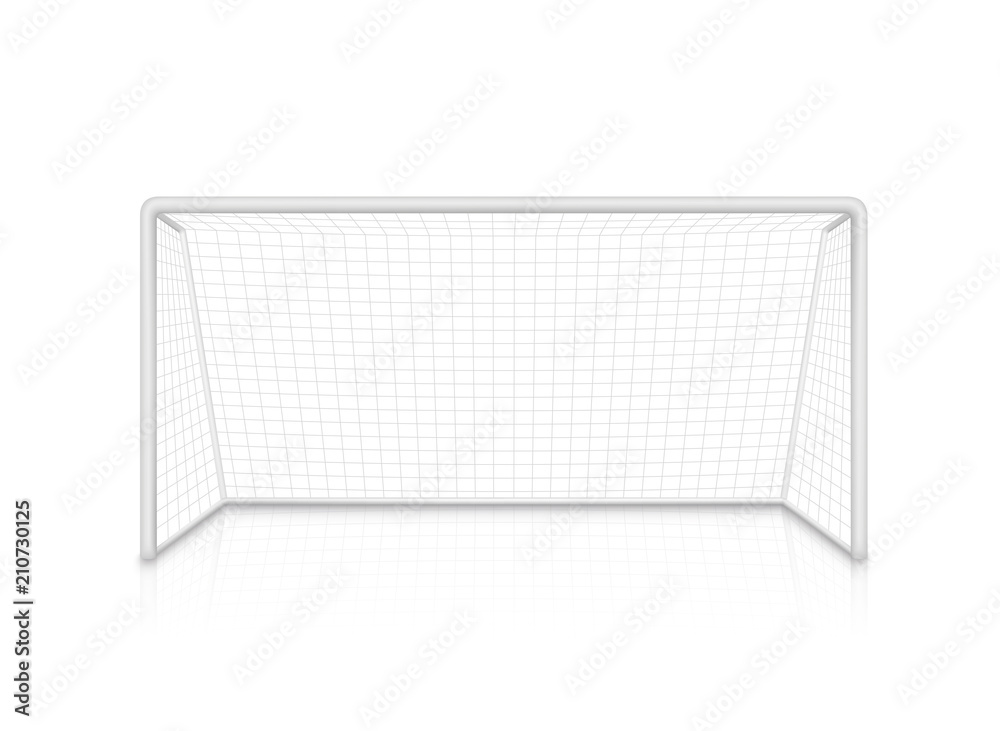 Fototapeta Vector realistic football soccer goal with grid. Football goal with shadow - stock vector.