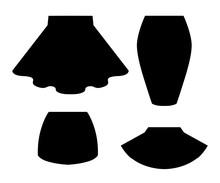 Black Silhouette. Set Of Women Summer Skirt. Flat Vector Illustration. Isolated On White Background