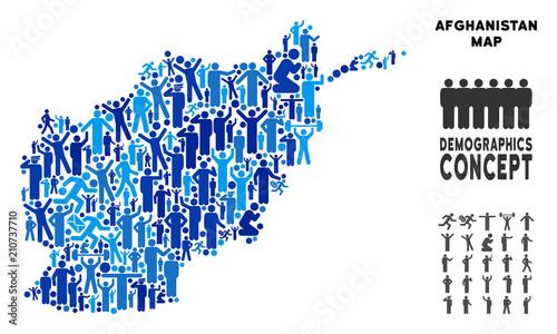 Vector population Afghanistan map Wallpaper Mural