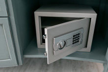 Open Safe In A Wealthy House. Safety Box In Hotel Room. Concept Safe Storage Of Money And Documents