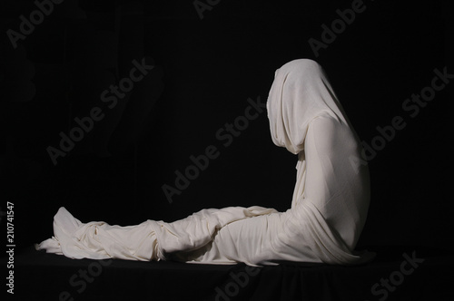 Fotografie, Obraz Jesus Christ rising from the dead wrapped in white cloth