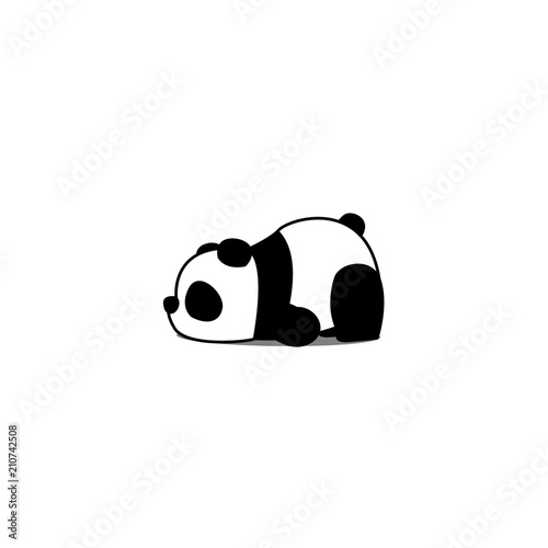 Lazy panda cartoon, vector illustration Wallpaper Mural
