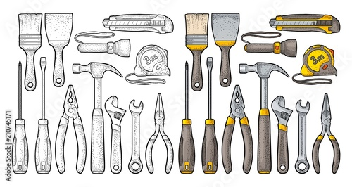 Photo Set hardware tools. Vector engraving
