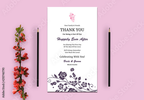 wedding thank you card layout with pink and purple flowers buy this