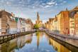 canvas print picture - Spiegelrei canal at sunrise, Brugge, Flanders, Belgium