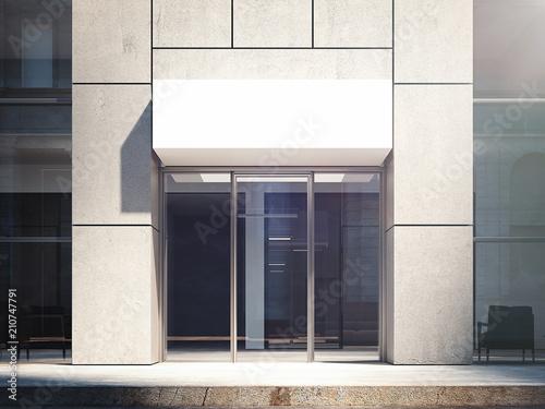 Foto  Business center entrance exterior. 3d rendering