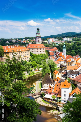 Fototapety, obrazy: Beautiful view to church and castle in Cesky Krumlov, Czech republic