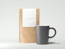 Dark Cup And Paper Bag Mockup,...