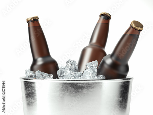 фотография Isolated glass beer bottles in metal tare, 3d rendering
