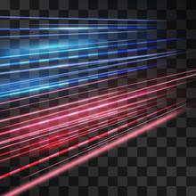 Laser Blue And Red Glow Vector...