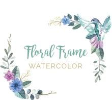 Colibrí En Marco Floral