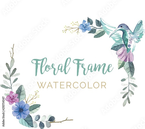 Obraz na płótnie Colibrí en marco floral