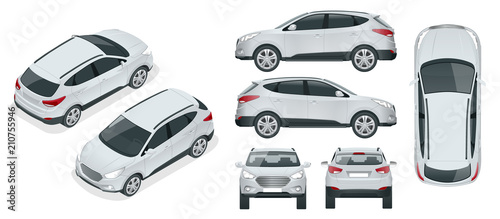Obraz Car vector template on white background. Compact crossover, CUV, 5-door station wagon car. Template vector isolated. View isometric, front, rear, side, top. - fototapety do salonu