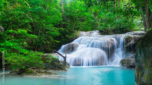 Küchenrückwand aus Glas mit Foto Wasserfalle Waterfall at Erawan National Park, Kanchana buri, Thailand